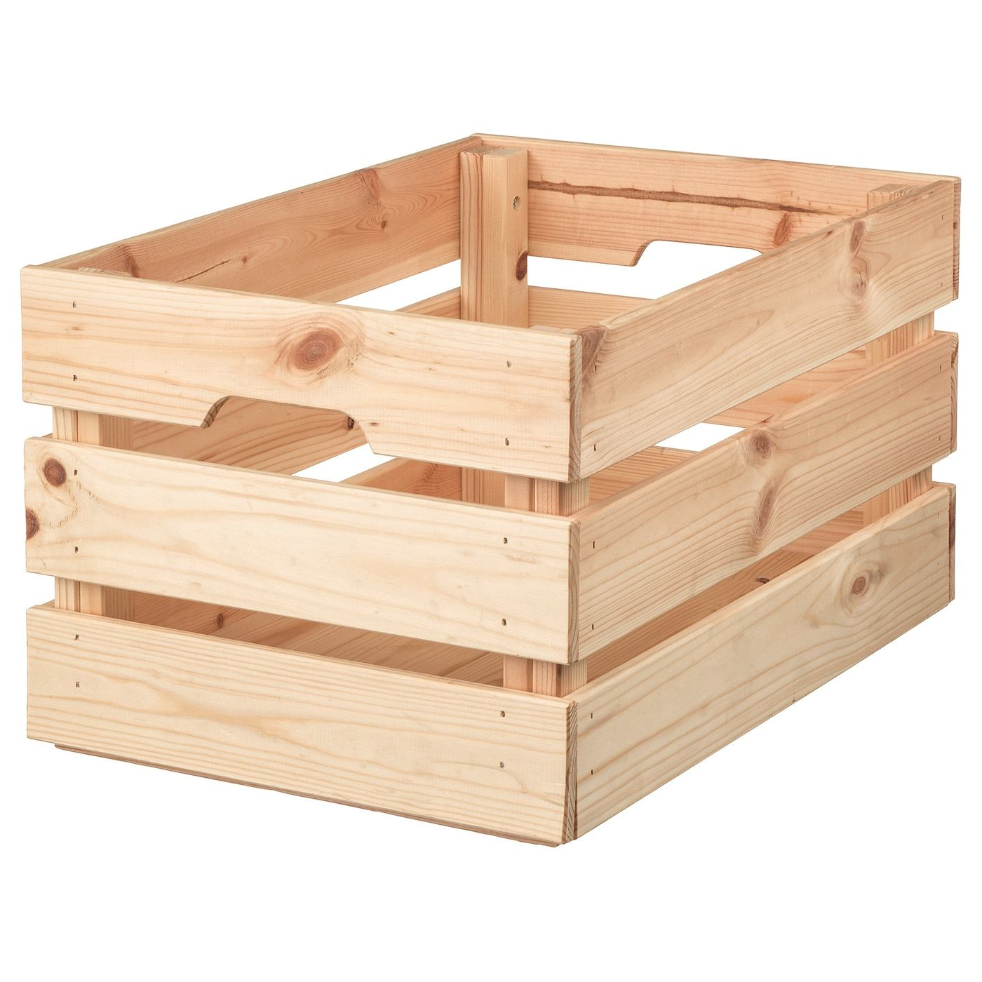 Knagglig Skatuľa Borovica 46x31x25 Cm Ikea In 2020 Ikea Wood Crates Small Storage