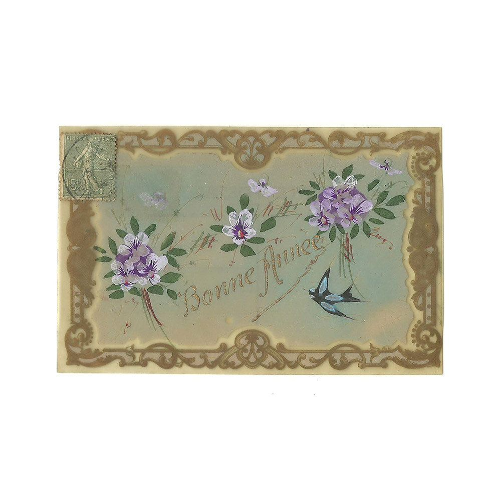french celluloid postcard antique golden unique hand painted happy new year card purple flowers