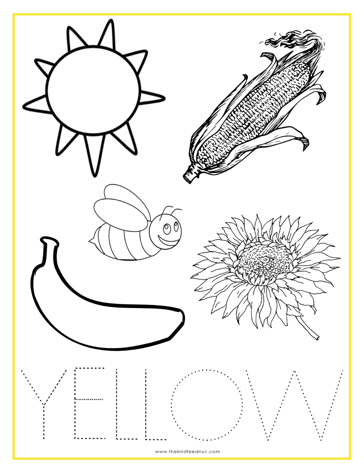 Color Yellow Printable Color Trace And Write Color Worksheets For Preschool Color Worksheets Kindergarten Colors