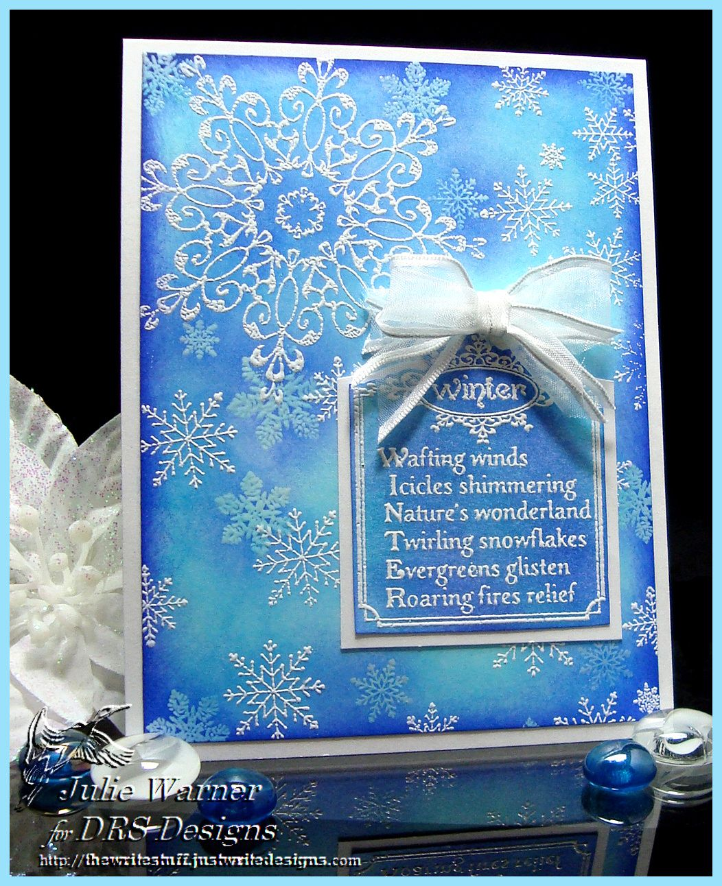 Winter bday card, emboss resist DRS Designs images