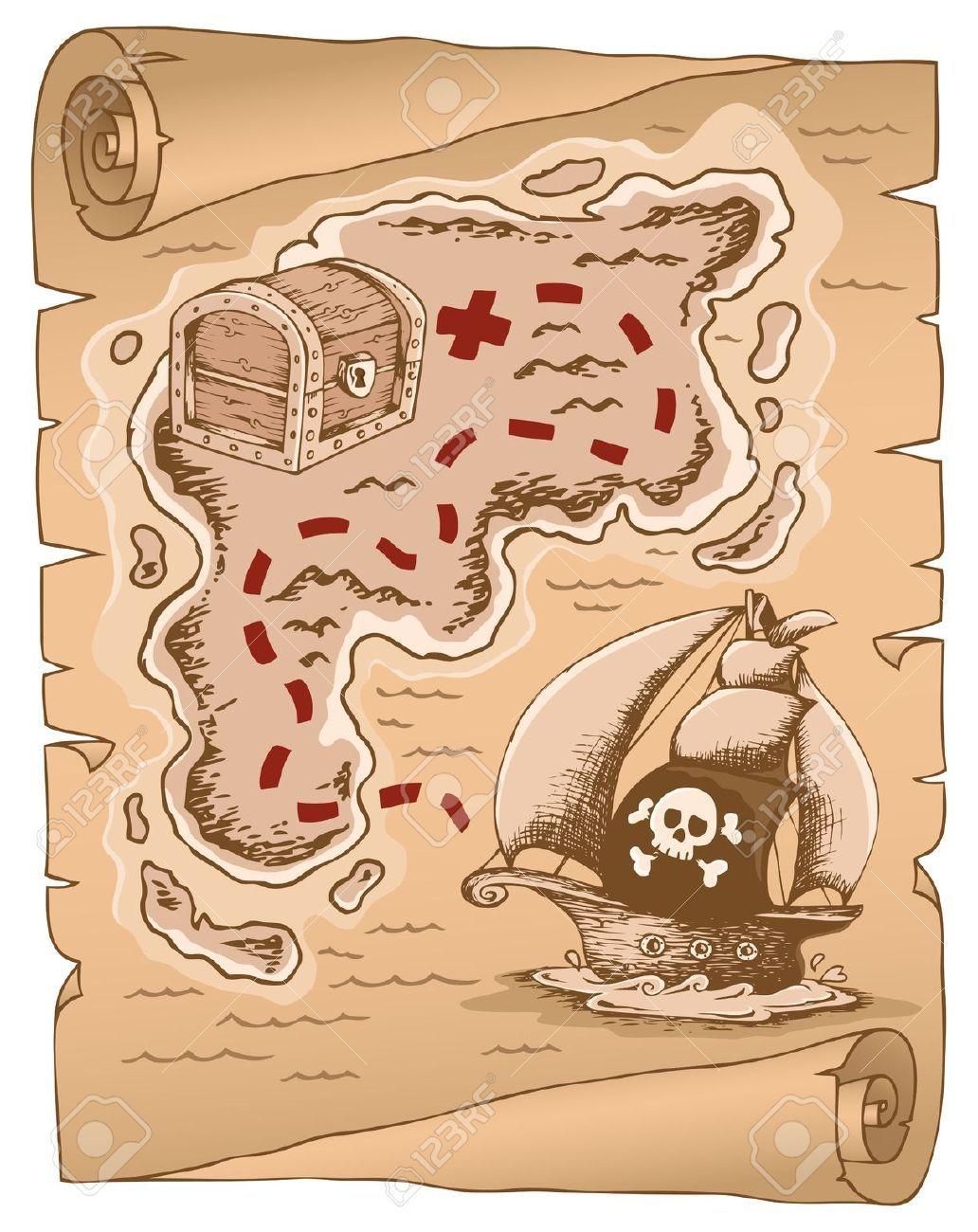 Pirati pergamena con la mappa del tesoro ville cartes - Pirata colorazione pirata stampabili ...