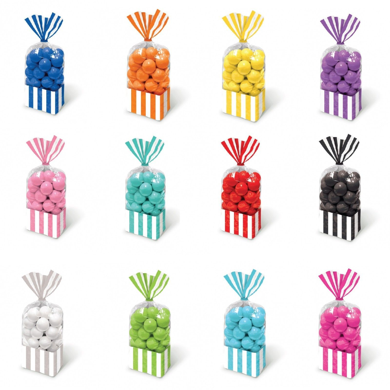 10 Striped Stripes Candy Buffet Sweet Treat Loot Party Supplies Favor Bags | eBay