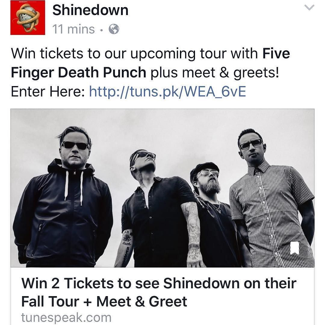 Via Shinedown Win Tickets To Our Upcoming Tour With Five Finger