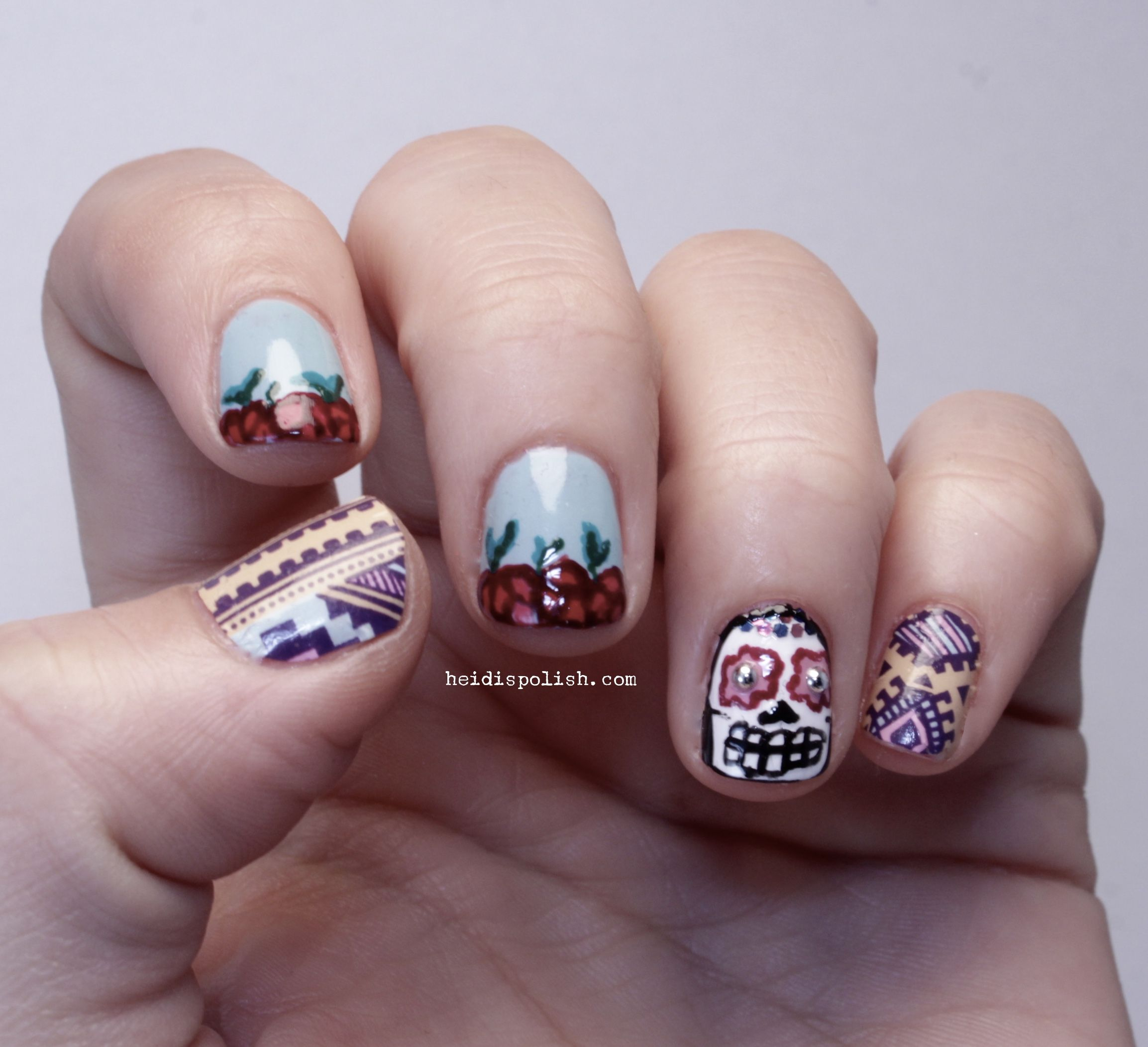 Dia de los Muertos Nail Design Freehand and Nail Wraps by ThumbsUp ...
