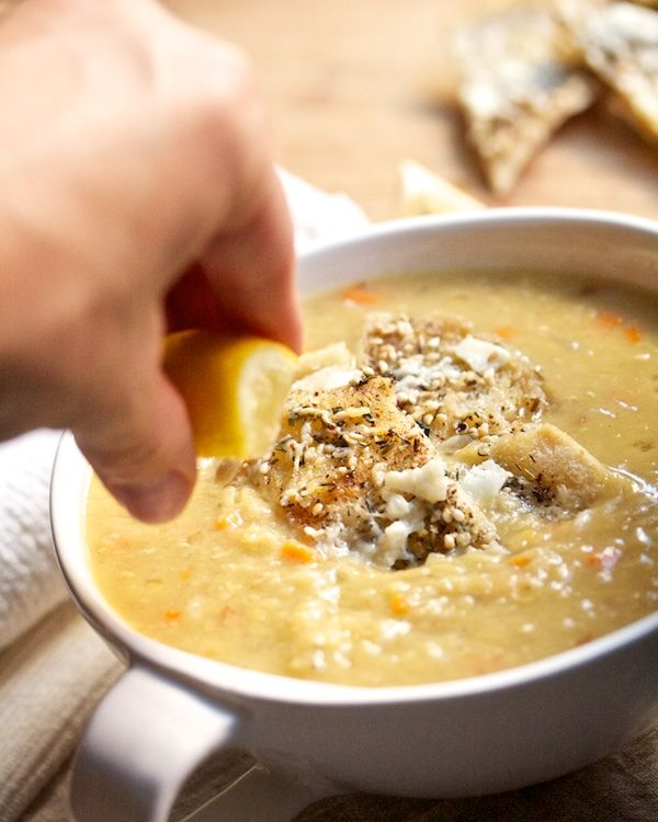 Red Lentil Soup with Cheesy Pita Croutons from Big Girls, Small Kitchen