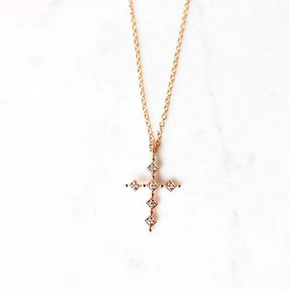 Rose Gold Cross Necklace In 2021 Gold Cross Necklace Necklace Gold