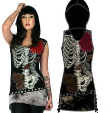 Details about TOO FAST TATTOO GLAMOURPUS SKULL GOTHIC PUNK EMO ZOMBIE DRESS PIN UP TUNIC SHIRT #emodresses