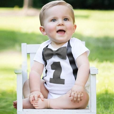 74aa89cce550 Short Sleeve Newborn Infant Baby Boys Toddle My 1st Birthday Romper for One  Year Birthday Formal Party Infant Baby Clothes