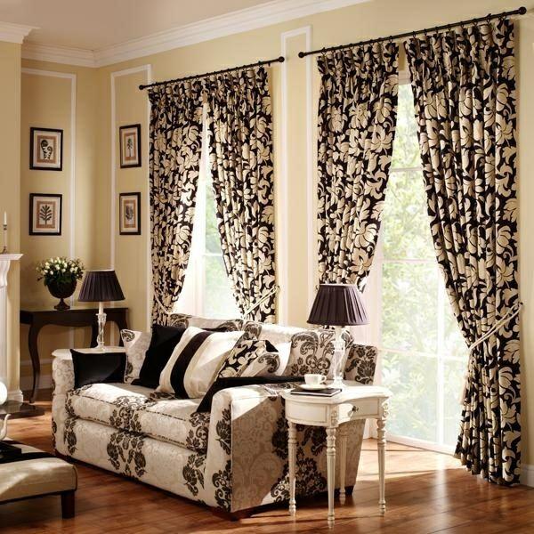 vorhang und gardinendekoration beispiele beige und schwarz ... - Gardinen Wohnzimmer Beige