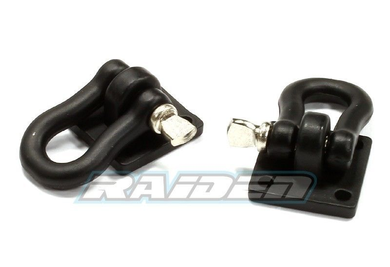 1//10 Steel Mini Tow Shackle with Mounting Bracket RC4WD SCX10 CC01 Crawler BLACK