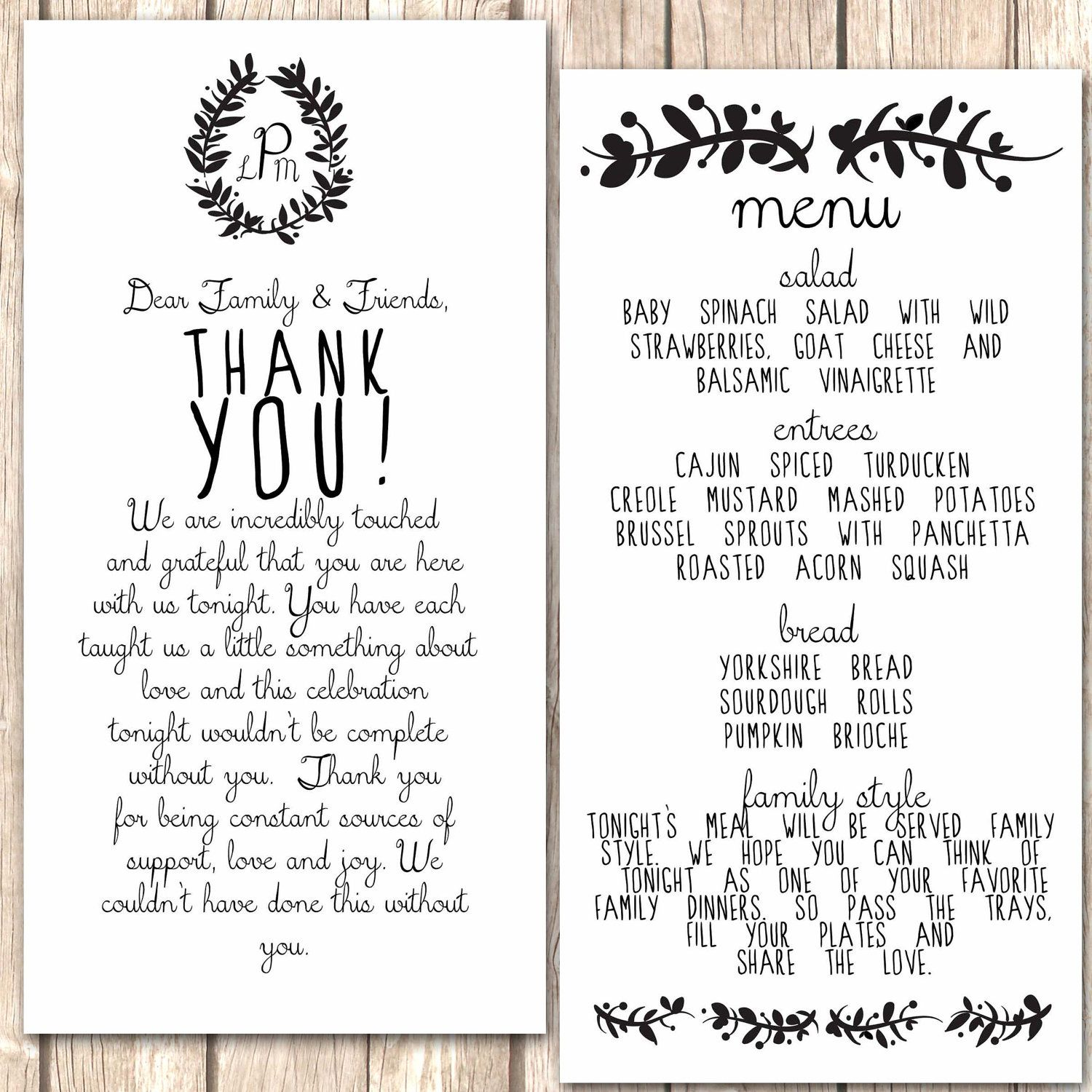 whimsical menu and thank you card for wedding dinner wedding