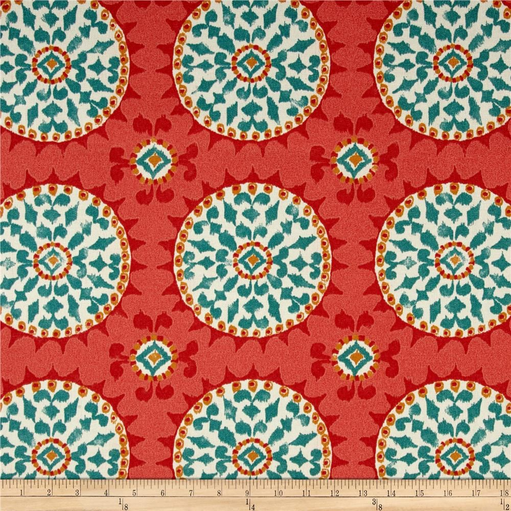 Indoor / Outdoor Weather Resistant Fabric By The Yard   Waverly Dena  Designs Johara Watermelon   Red Coral Turquoise Sundial