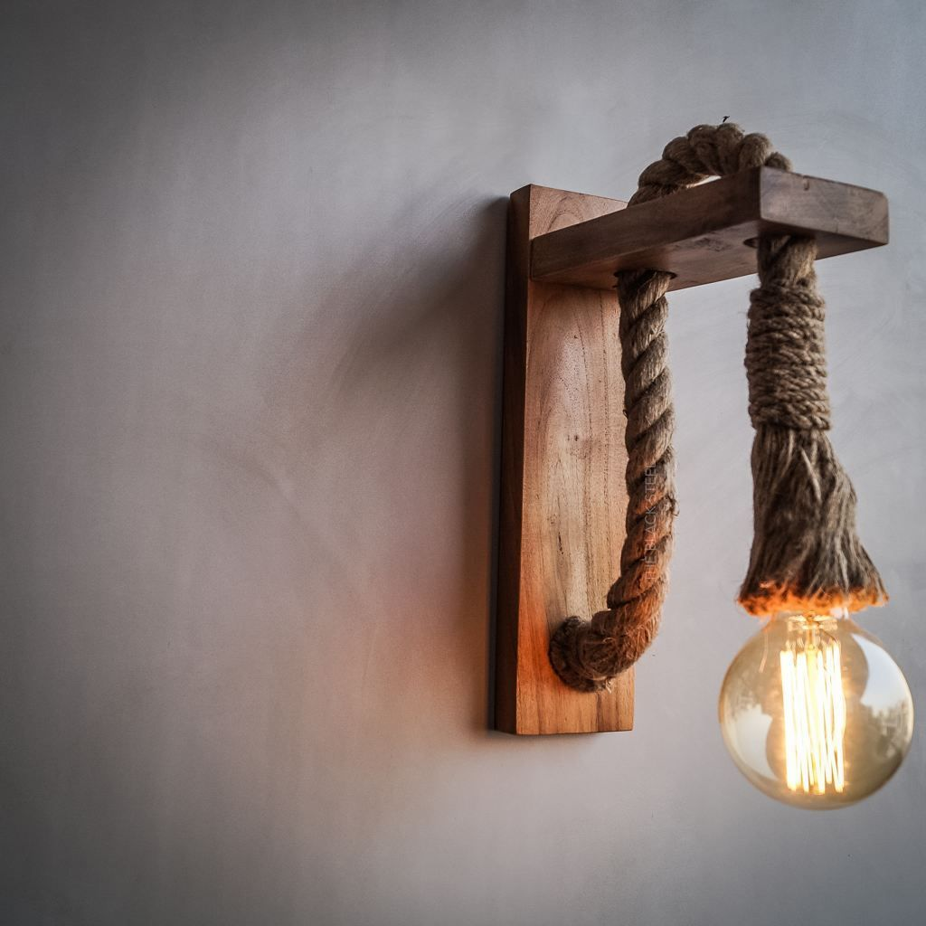 American Wooden Barn Rope Wall Sconce Loft Interior Style Lighting The Black Steel Wooden Lamps Design Lamp Decor Wooden Lamp