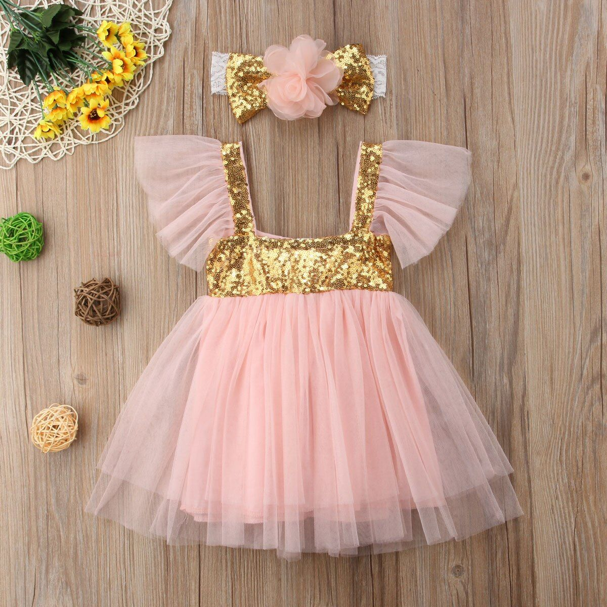 Newborn Sequin Princess Kids Baby Girls Dress Tulle Floral Party Dress Casual Dresses