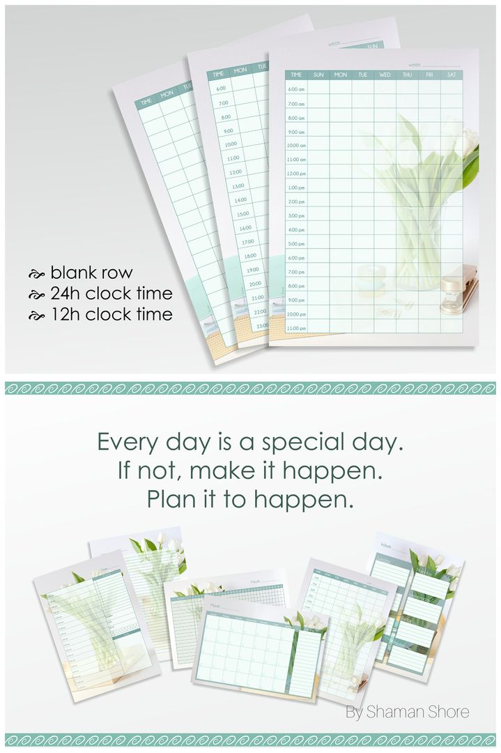 Light Blue Weekly Agenda Printable Floral Color Weekly Agenda A