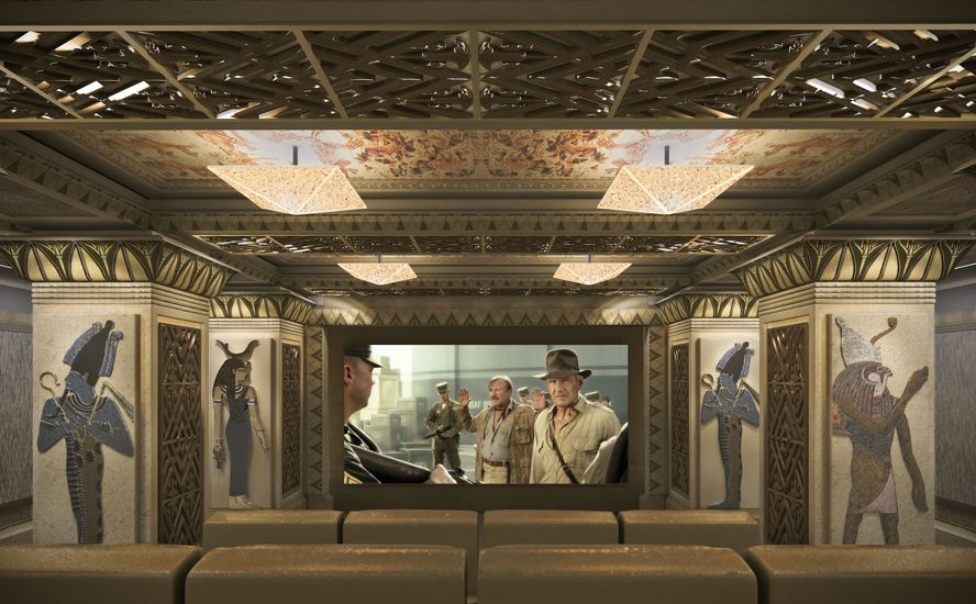 An Egyptian inspired home theater from TK Theaters | #DesignLUX and the Media Room