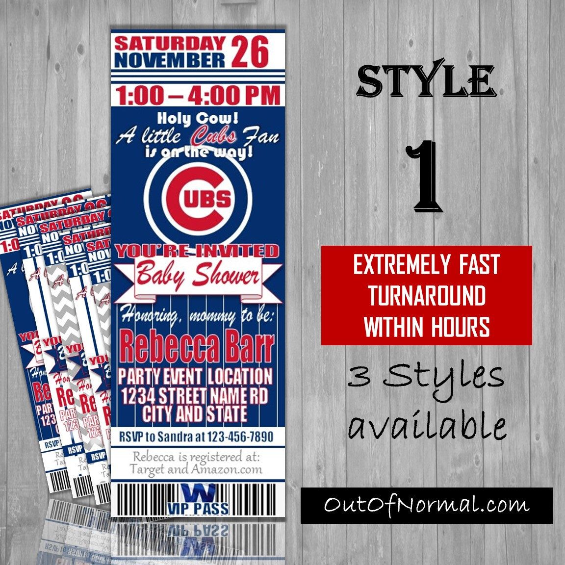 Chicago Cubs Themed Baby Shower Invitation Tickets - world series ...