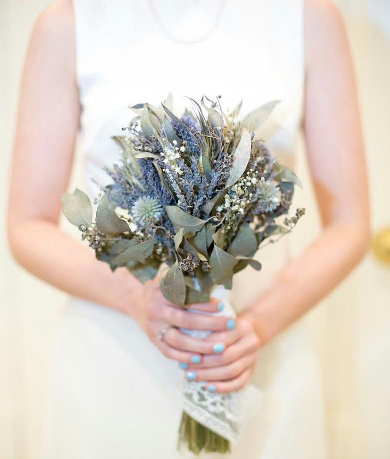 Dried Eucalyptus And Lavender Bouquet With Thistles Baby