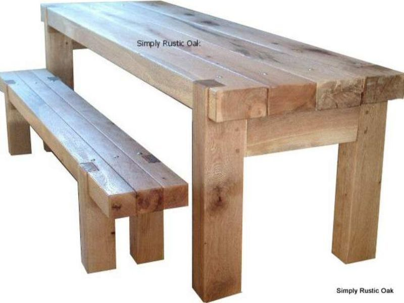 Rustic Oak Beam Dining Table With Bolts Outdoor Dining Furniture