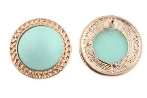 Ladies Gold with Mint Round Spherical Stone Stud Earrings..