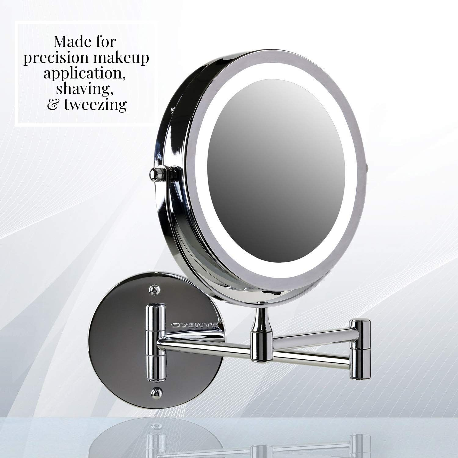 Ovente Wall Mounted Vanity Makeup Mirror 7 Inch Polished