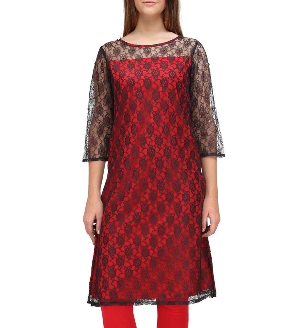 Black u red cotton jacquard kurti indianroots ethnicwear kurti