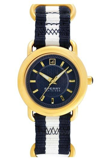 Sperry Top-Sider® 'Hayden' Round Nylon Strap Watch, 36mm available at #Nordstrom