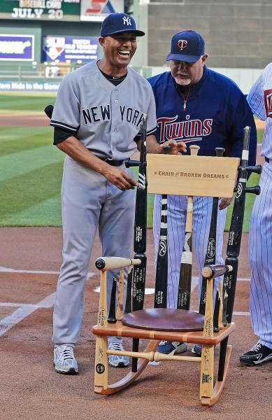 New York Yankees Pitcher Mariano Rivera Points Out The Gift Rocking Chair  Made Of Broken Bats, Called The Chair Of Broken Dreams