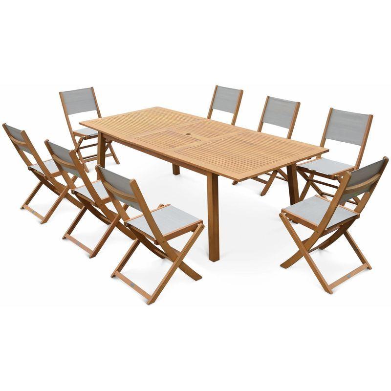 Table de jardin en bois Almeria 120-180cm rectangulaire avec allonge eucalyptus