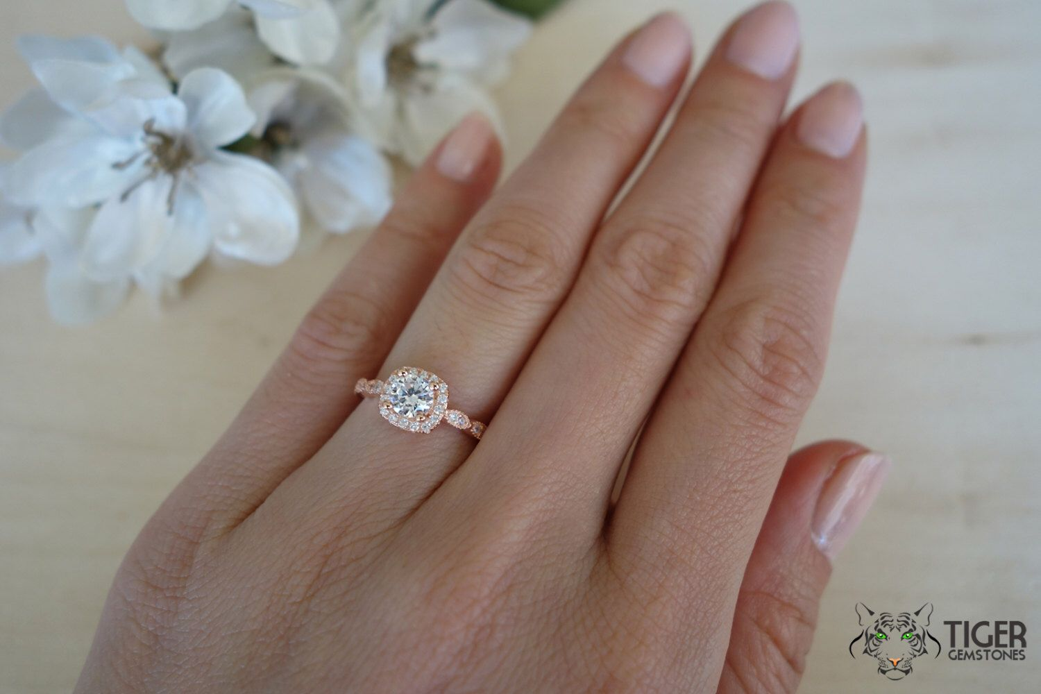 ring simulant carat of man solitaire engagement rings made rose lovely diamond