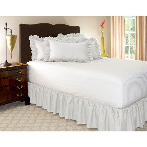 Queen White Ruffled Bed Skirt With 21 Drop Shop Bedding Http