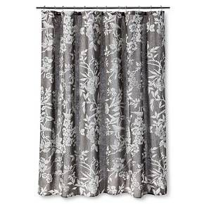 Shower Curtain Gray Floral