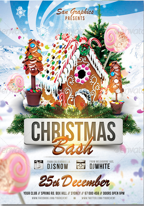 Xmas Christmas Bash Party Flyer Template Party Flyer Templates For