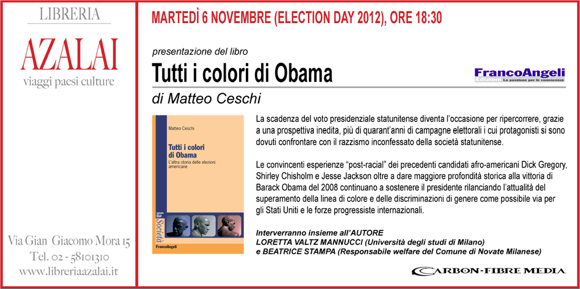 Election Day November 6th Book Signing By Matteo Ceschi Author Of