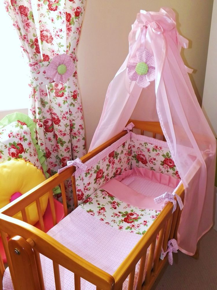 Details About Cot Bedding Set Beautiful Cath Kidston Rosali Cotton Fabric Made To Order