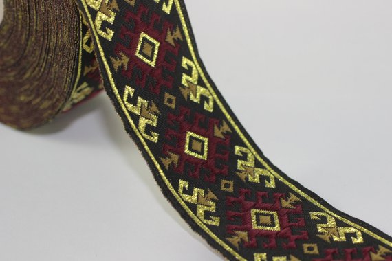 25 Mm Red Gold Snowy Jacquard Trim 0 98 Inches Vintage Ribbon Decorative Craft Ribbon Sewing J Red Gold Red Decor Crafts