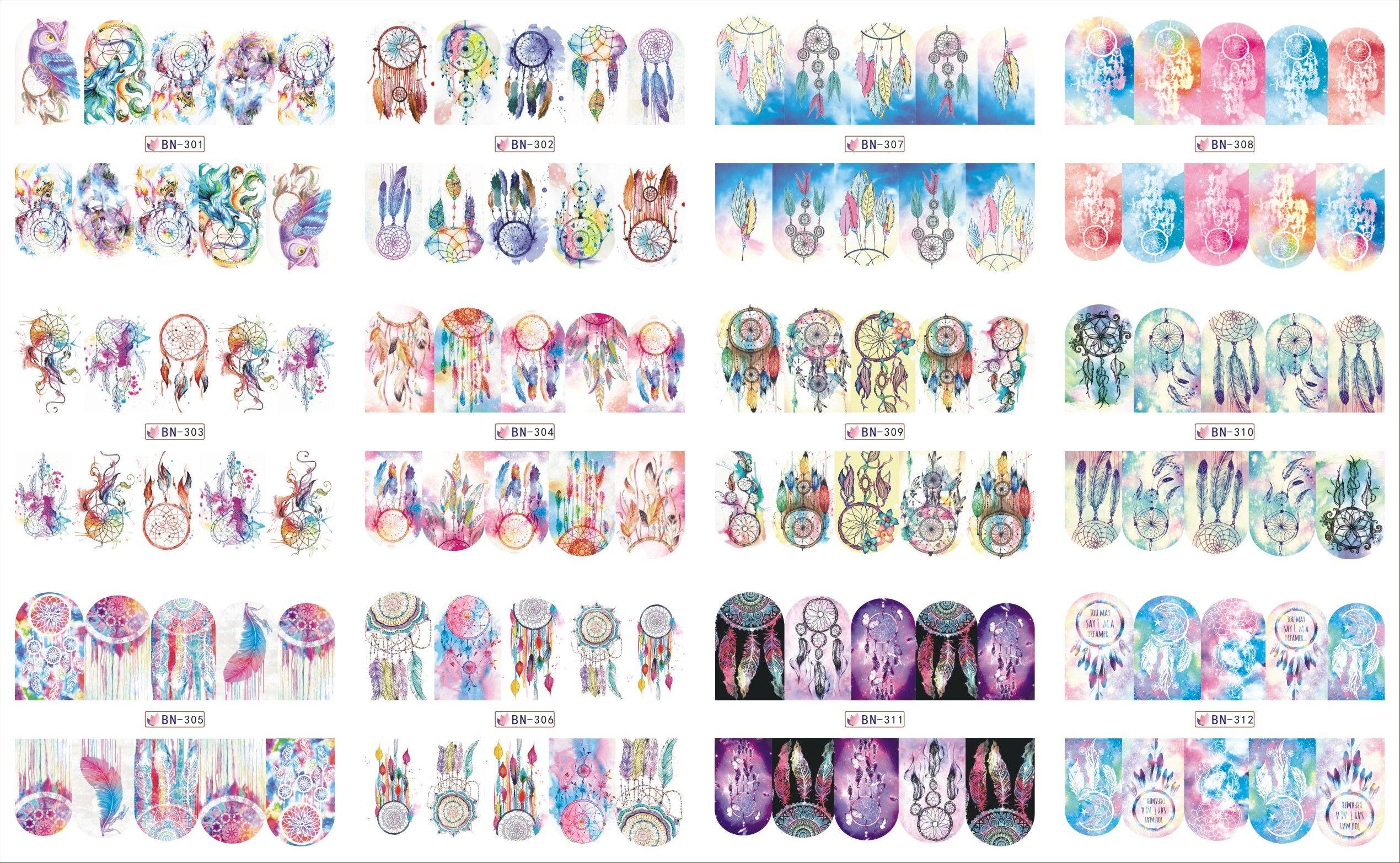 12 Blätter/Los BN301-312 Hot Fashion Traumfänger Volldeckung-nagel ...