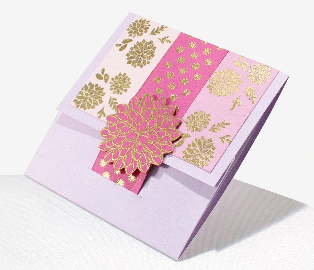 Beautiful Thank You Card Lavender With Gift Card Holder By