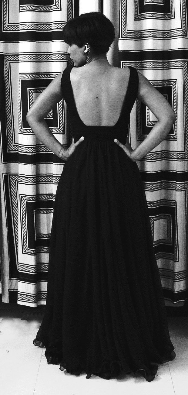 short hair pixie and black evening gown india (4)   black