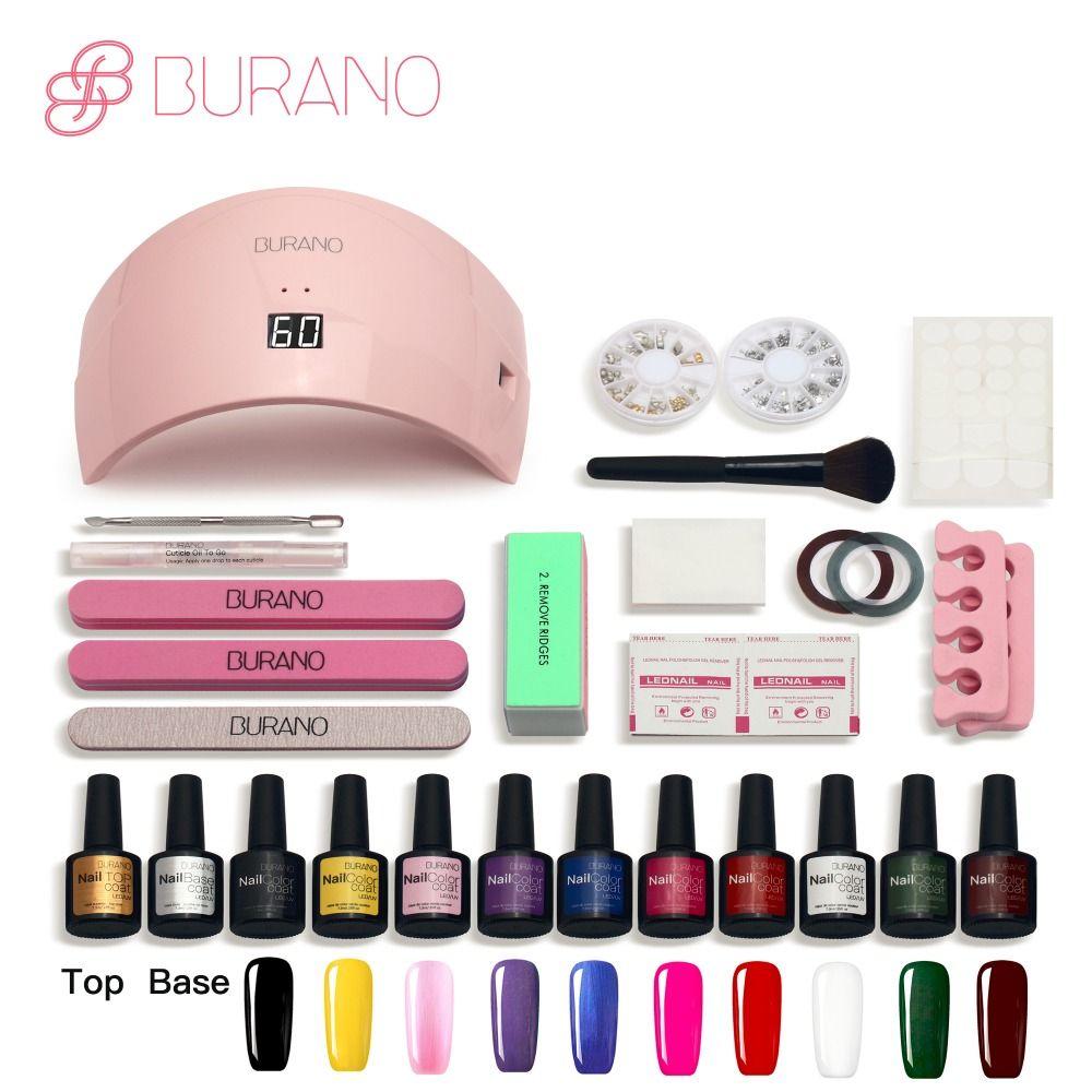 Burano 24w Led Lamp Nail Gel Soak Off Gel Polish 10 Colors Top Base Coat Gel Nails Polish Kit Art Tools Kits Sets M Gel Nail Art Diy Nails Tools Gel