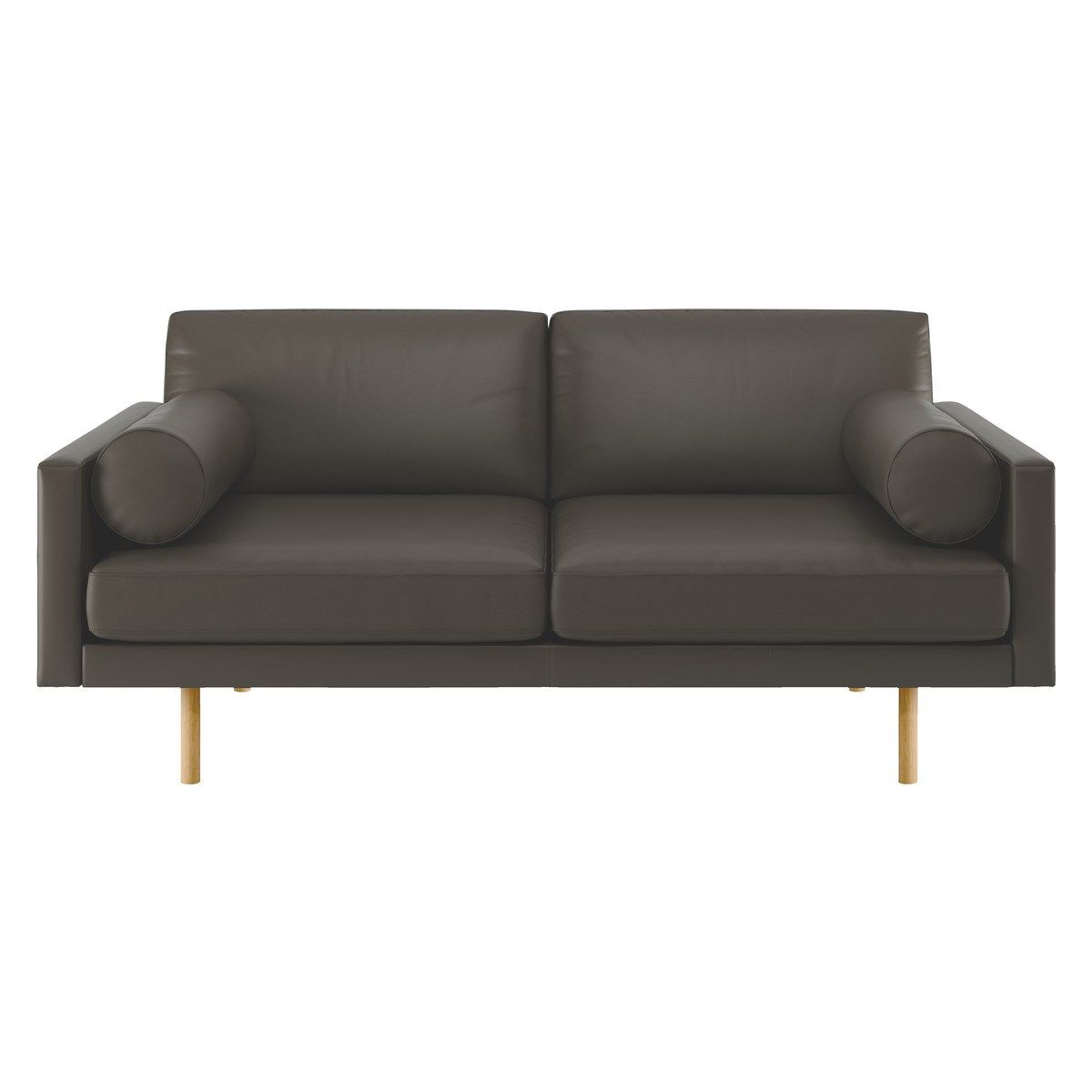 The Luxurious Spencer Grey Leather 2 Seater Sofa With Oak Legs Is A Sleek Design That Combines A Slender Streamlined Sh 2 Seater Sofa Seater Sofa Leather Sofa