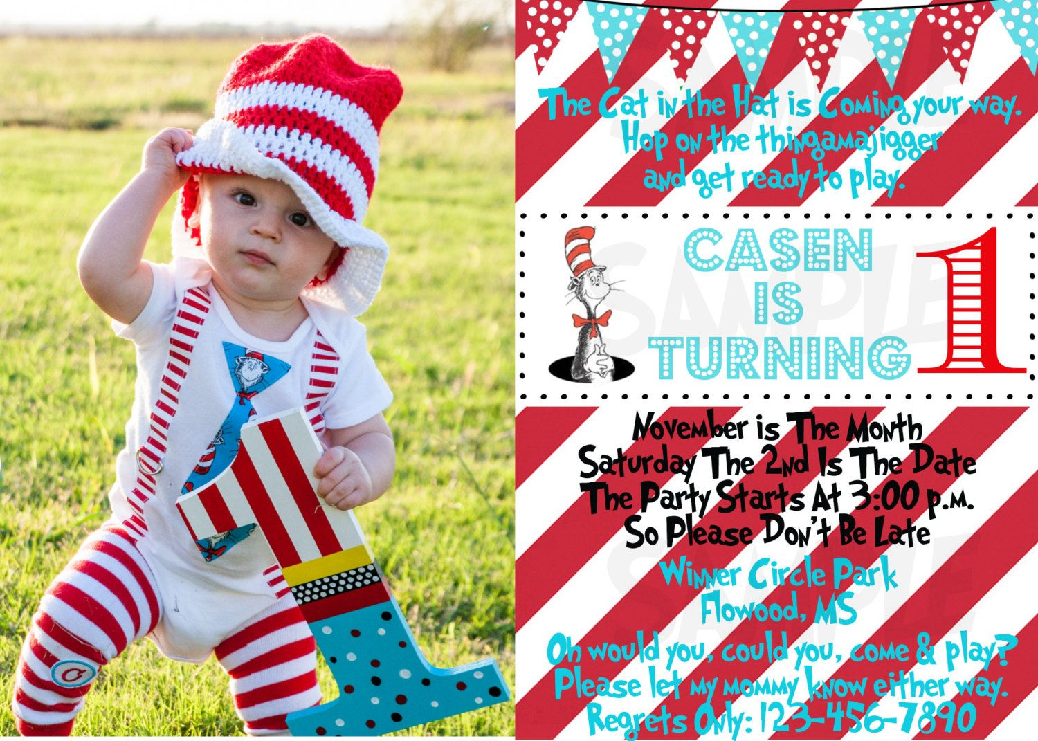 Dr Seuss Birthday Invitation / Dr Seuss Invitation / Cat in the hat ...