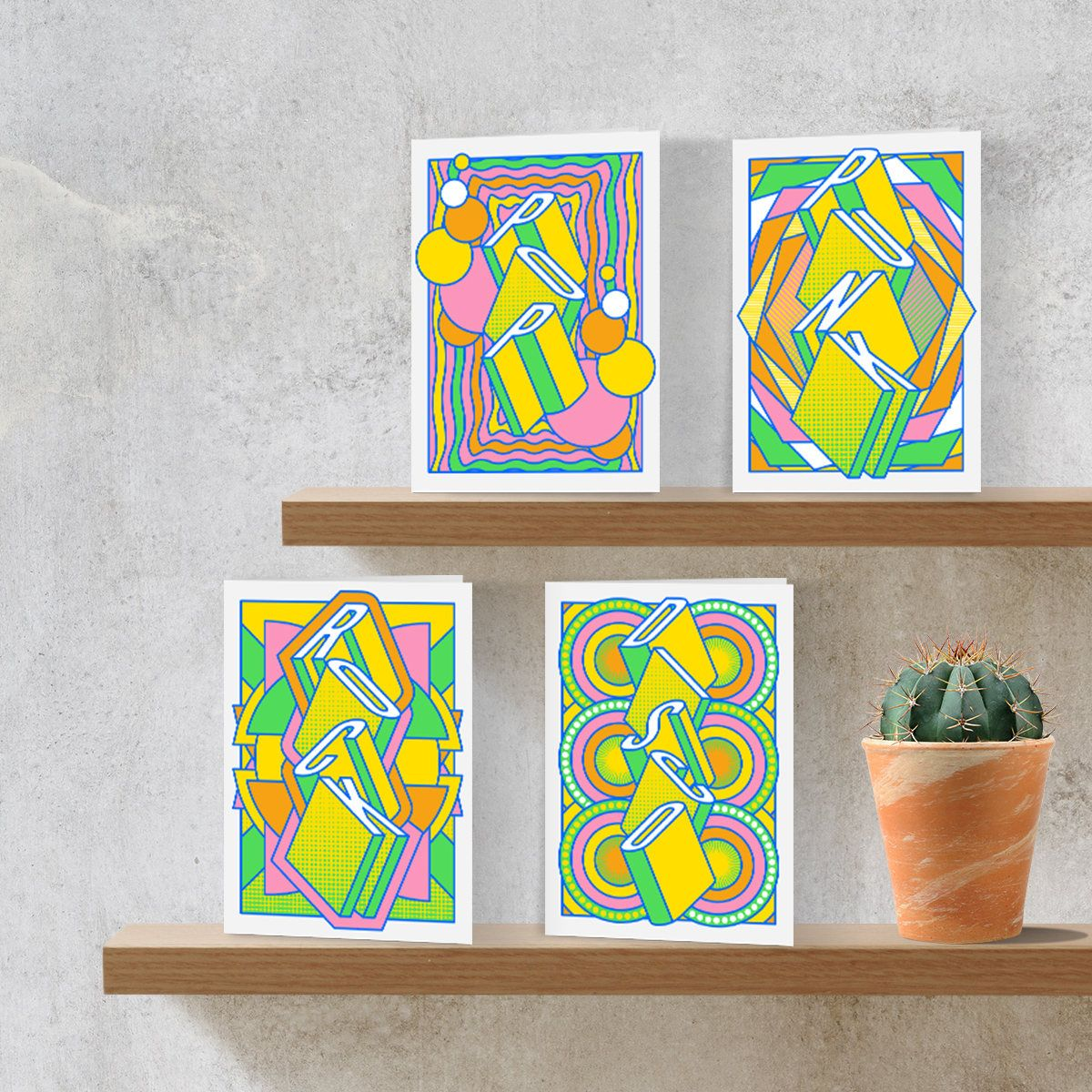 Music Print Pack Of 4 Greeting Cards Colourful Birthday Cards