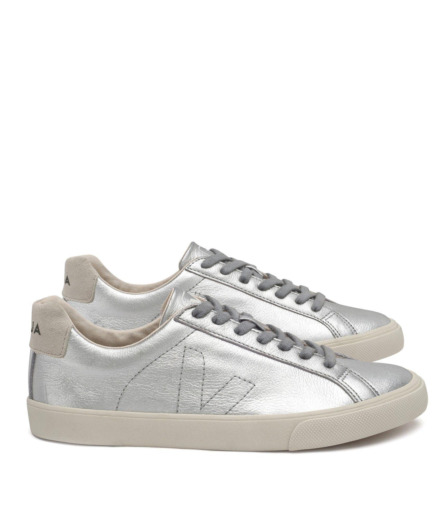 Veja Esplar Low Leather Silver Pierre