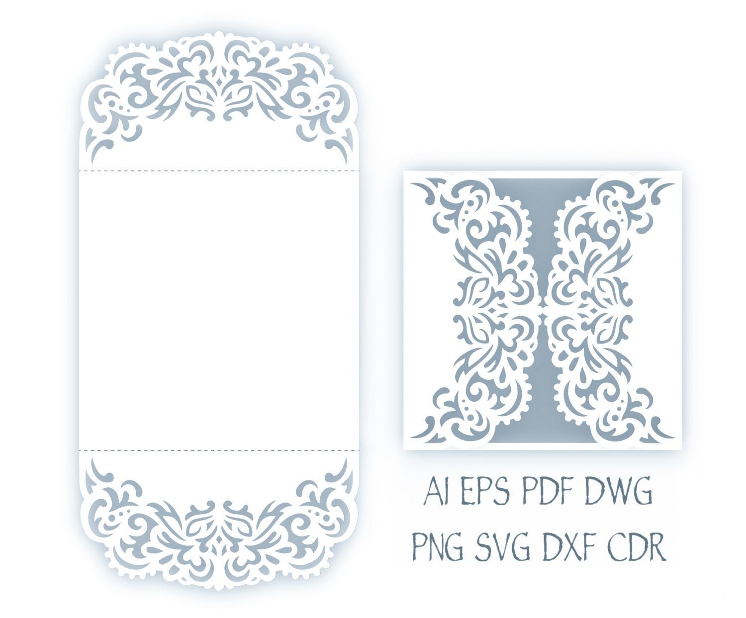Svg Wedding Invitation 5x5 Gate Fold Card Template Quinceanera