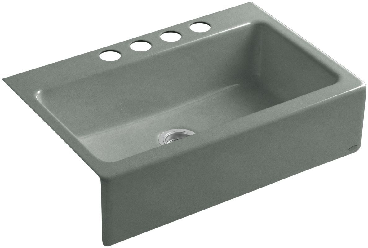"Kohler K-6546-4U Dickinson 33"" Single Basin Under-Mount Enameled Cast-Iron Kitch Basalt Fixture Kitchen Sink Cast Iron"