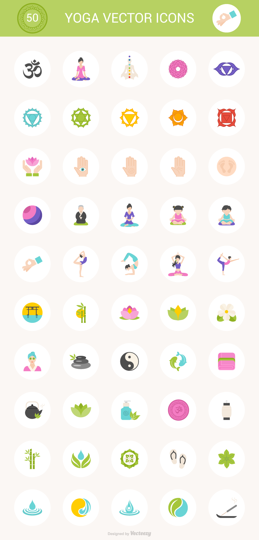 Free Download 50 Yoga Icons PSD SVG PNG AI EPS