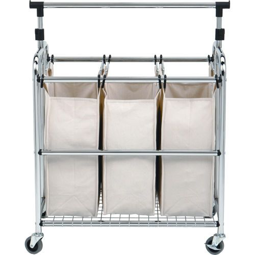 Seville Classics Laundry Sorter Ii With Adjustable Hanger Bar Laundry Sorter Laundry Cart Laundry Center