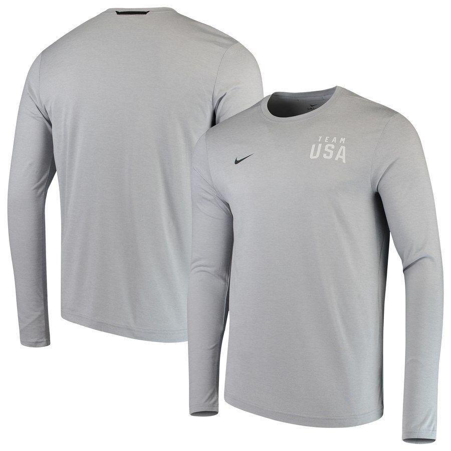 f44b5281050b Team USA Nike Coaches Long Sleeve Performance T-Shirt - Heathered Gray