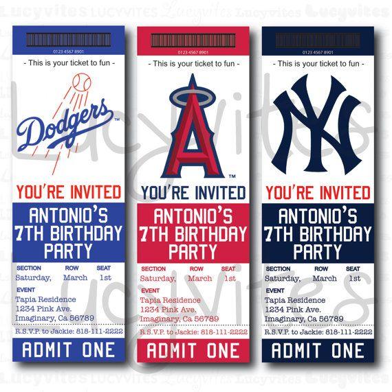 Baseball Ticket Stub Digital Invitation